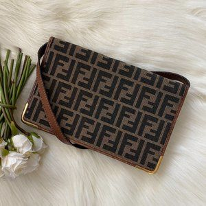 Fendi Zucca Messenger / Clutch Shoulder Bag